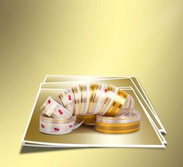 Gold paper horizontal ribbon on the gold abstract background