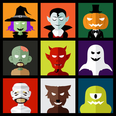 Halloween monster icons