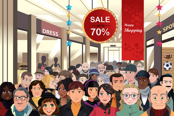 Holiday shopping sale scene