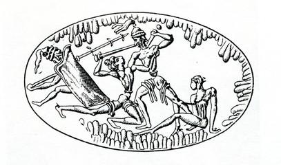 Battle (image on ring from Grave IV, Mycenae, Greece)