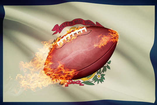 American football ball with flag series - West Virginia