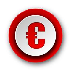 euro red modern web icon on white background