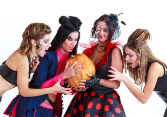 Halloween women with pumpkin