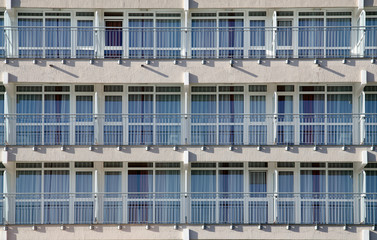 Rows of balconies in a new apartment house