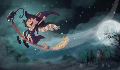 bruja volando en Halloween