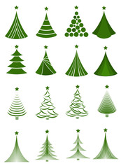 Set of Christmas tree designs