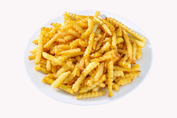 French fries on white plate isolated.