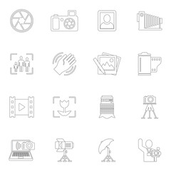 Photography icons outline