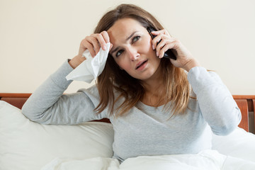 Ill woman talking on the phone