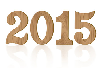 Vector 2015 wooden letterpress type on white background