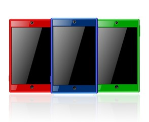 Three Touchscreen Smartphones with Blank Screens