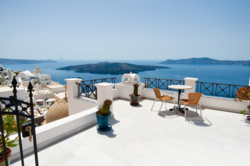 Idyllic patio in Fira on the island of Santorini, Greece.