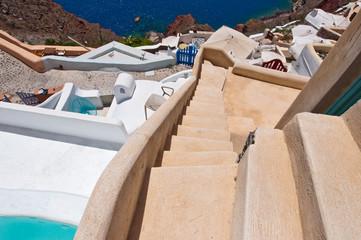 The steps in Oia town. Santorini,Greece.