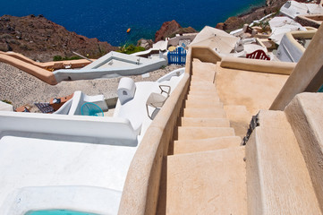 The steps in Oia town on Santorini in Greece.