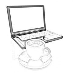 3d cup and a laptop. Pencil drawing