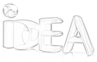 "3d text ""idea"". Pencil drawing"