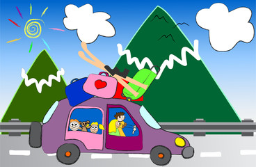 cartoon family trip to the mountains vector illustration