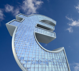 skyscraper currency-euro sign. conceptual finance illustration