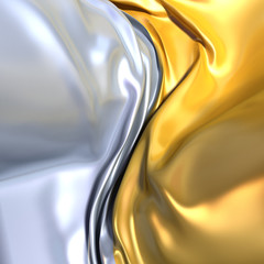 Gold and silver cloth background. Similar to yin yang symbol