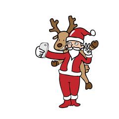 Selfie Santa and reindeer