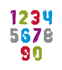Modern watercolor brushed numbers set, hand-drawn colorful styli