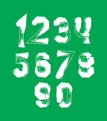 Creative handwritten over color numbers set from 0 to 10, vector