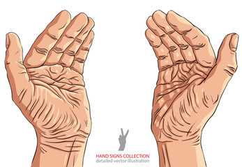 Protecting empty hands with place for some small object, detaile