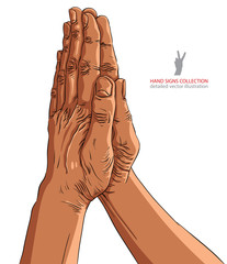 Praying hands, African ethnicity, detailed vector illustration,