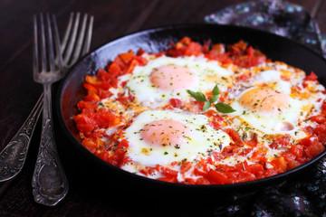 Aluminium Prints Egg scrambled eggs with herbs, tomatoes and peppers. shakshuka