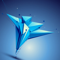 Blue contemporary technological asymmetric construction, colorfu