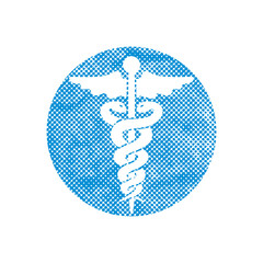Caduceus medical vector icon with pixel print halftone dots text