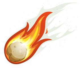 Cartoon Fireball And Comet Flying