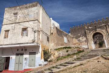Wall Mural - Ancient fortress and living houses. Madina, old part of Tangier,
