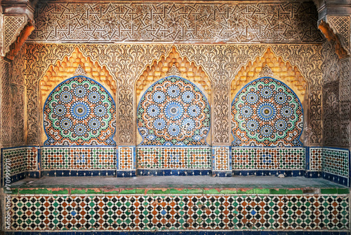 Wall mural Ancient Arabic niche with mosaic in Medina. Tangier, Morocco