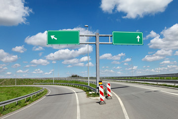 Highway crossroad and signs