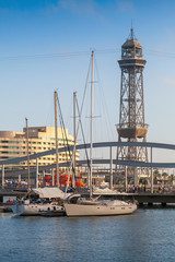 Yachts are moored in Port of Barcelona, Spain