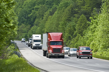 Trucking Traffic On Interstate Highway