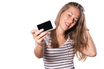 Pretty young girl making self-portrait with her phone