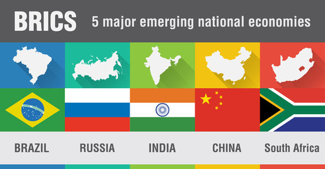 Wall Mural - Brazil, Russia, India, China, South Africa map in flat design