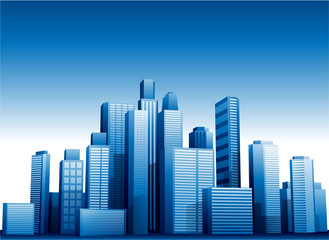Vector 3d cityscape buildings background