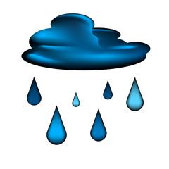 Cloud and rain drops vector icon