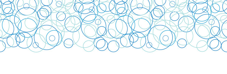 Vector abstract blue circles horizontal border seamless pattern