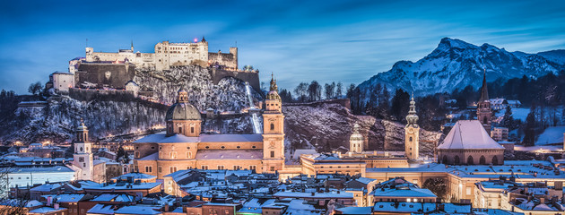 Salzburg cityscape in winter, Salzburger Land, Austria