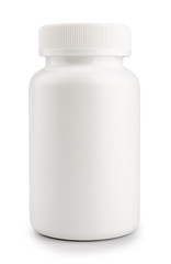 medicine white pill bottle isolated on a white background