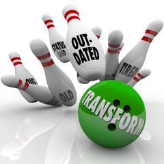 Transform Word Bowling Ball Change Innovation Improvement
