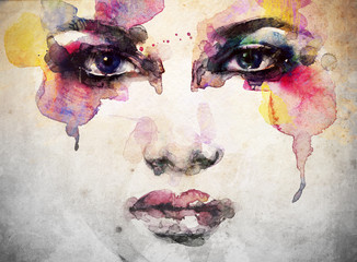 Photo Blinds Watercolor Face woman portrait .abstract watercolor .fashion background
