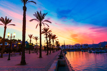 Cartagena Murcia port marina sunset in spain