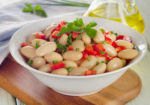 White bean salad   with fresh herbs.