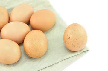 Eggs on Fabric Isolated And White Background
