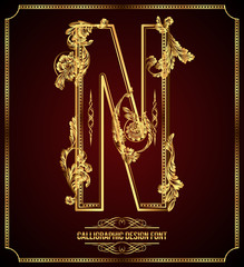 Calligraphic Design Font with Typographic Floral Elements. N